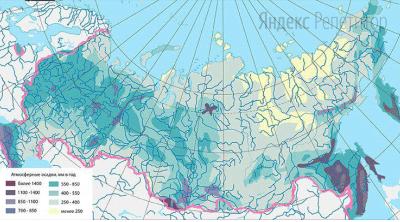С помощью карты сравните значение годового количества осадков в перечисленных населенных пунктах.