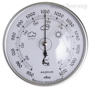 Ученик проводит измерения давления в классе при помощи барометра. Шкала и показания барометра приведены на рисунке. Погрешность измерений равна цене деления данного прибора.