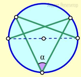 В окружность вписана замкнутая пятизвенная ломаная, четыре звена которой равны, а пятое является диаметром окружности. Найдите угол между её равными звеньями. Ответ дайте в градусах.
