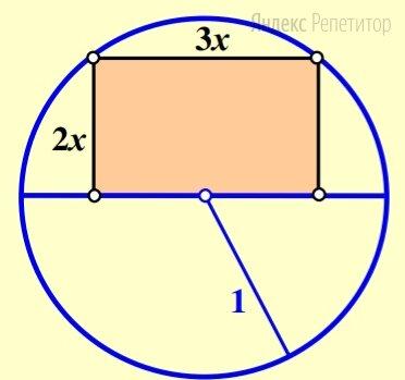 Радиус окружности равен .... Найдите площадь прямоугольника, две вершины которого лежат на этой окружности, а две другие на её диаметре, если его стороны относятся как ....