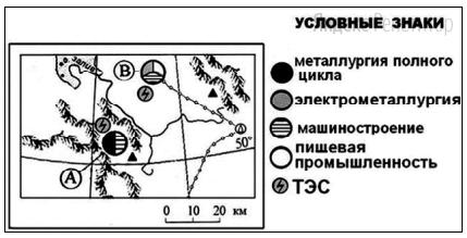 Определите, в каком из промышленных центров, обозначенных на карте буквами А и В, будет наблюдаться большее загрязнение атмосферы.