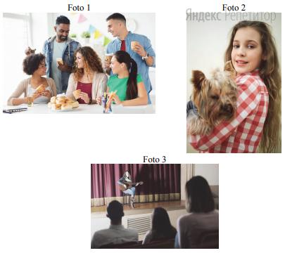 Die drei Fotos stammen aus Ihrem Fotoalbum. Wählen Sie ein Foto und beschreiben Sie es Ihrem Freund / Ihrer Freundin.