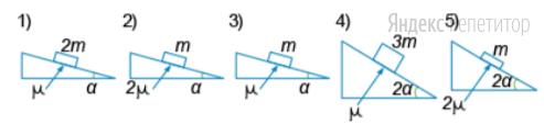 Необходимо экспериментально изучить зависимость времени спуска бруска с горки от его массы (на всех представленных ниже рисунках ... — масса бруска, ... — угол наклона плоскости к горизонту, ... — коэффициент трения между бруском и плоскостью).