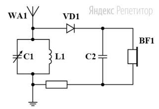 Как нужно изменить ёмкость конденсатора переменной ёмкости в детекторном радиоприёмнике (... на схеме), чтобы перенастроиться с «Маяка» на «Россию»?