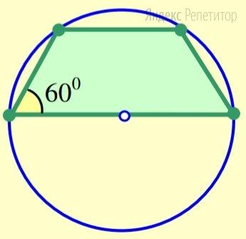 Трапеция вписана в окружность радиуса ..., причём один из её углов равен .... Найдите периметр трапеции, если одно её основание является диаметром окружности.