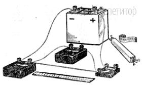 При выполнении лабораторной работы по определению удельного сопротивления проволоки (см. рис.) ученик соединил последовательно батарею аккумуляторов, амперметр, проволоку и выключатель.