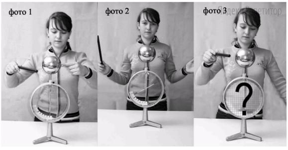 Определите, что случится со стрелкой электрометра, когда девочка второй раз поднесет другую заряженную положительно палочку к металлическому шару электрометра, не касаясь его ни рукой, ни палочкой (фото ...).