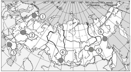 Какие три из обозначенных на карте России территории имеют наибольшую среднюю плотность населения?