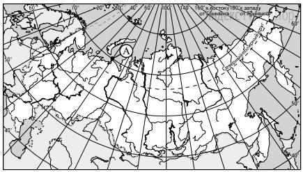 Какие географические координаты имеет точка, обозначенная на карте России буквой A?