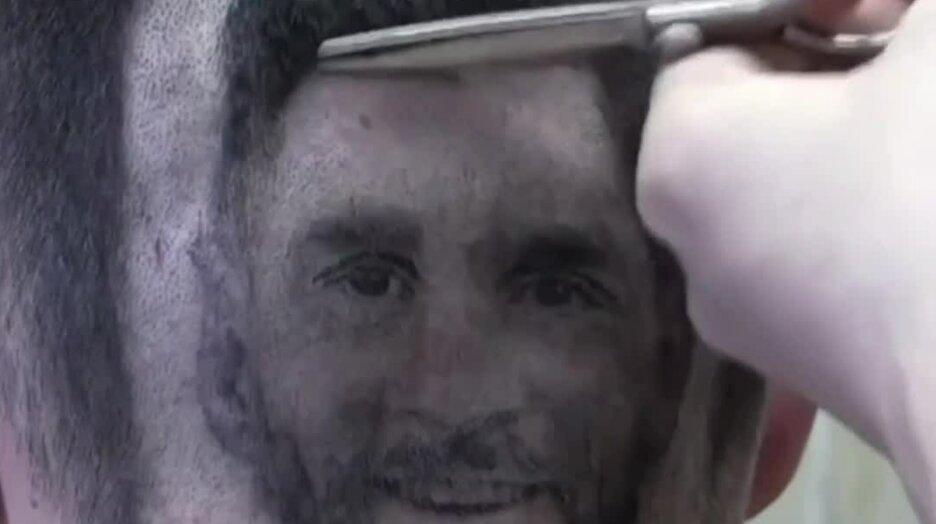 Крутая стрижка с лицом Месси и Роналду. Видео прикол