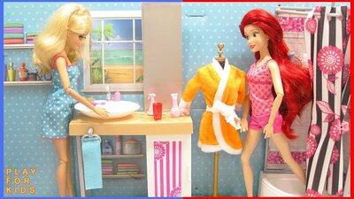Barbie Doll Morning Routine In Bedroom And Bathroom Smotret V Efire