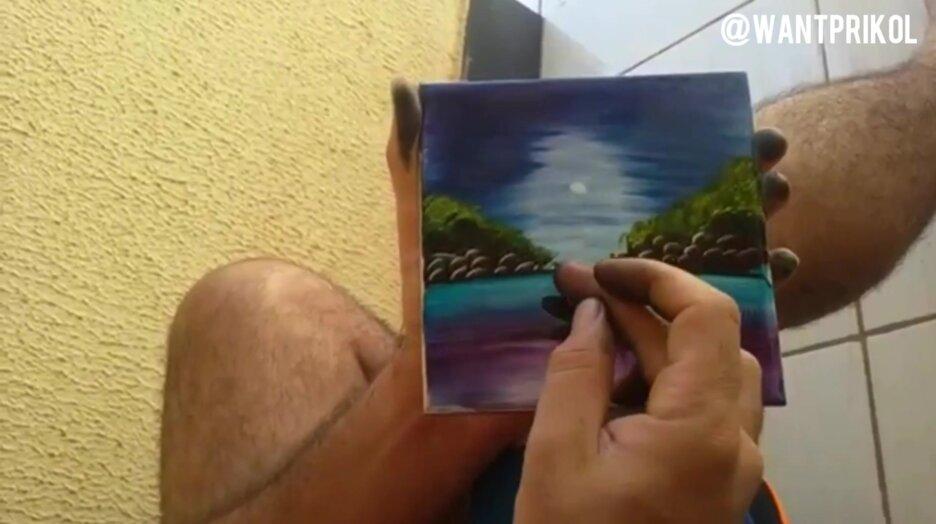 Красивый рисунок на кафельной плитке. Видео прикол