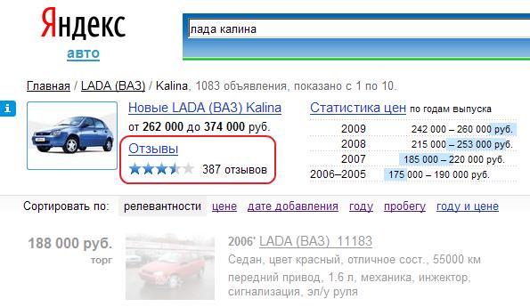 Информер отзывов на поиске Яндекс.Авто