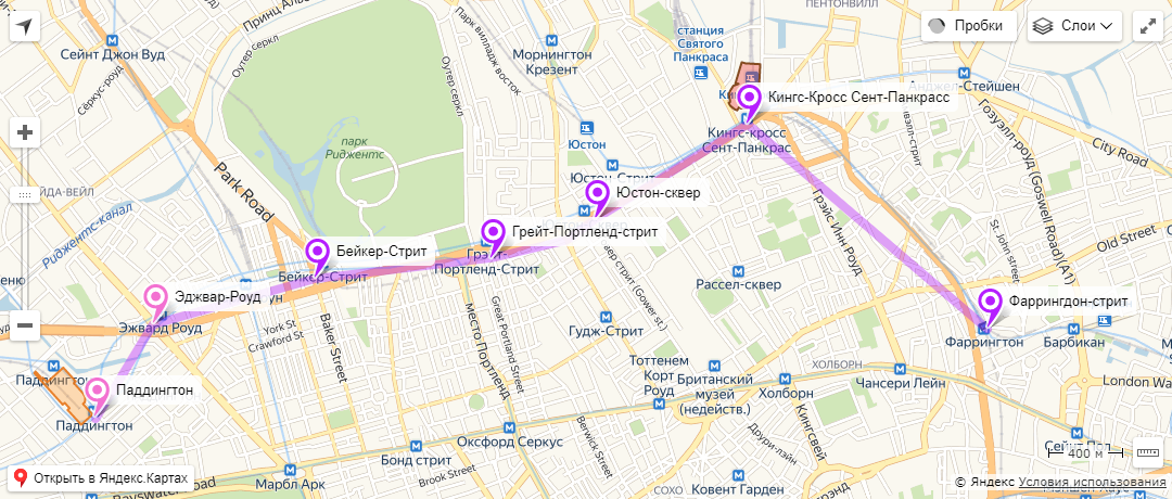 схема маршрута яндекс карта