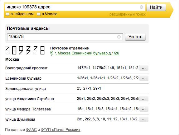 Почтовые индексы Москвы