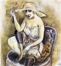 """""""Girl with Pink Rose""""  Otto Dix  1923"""