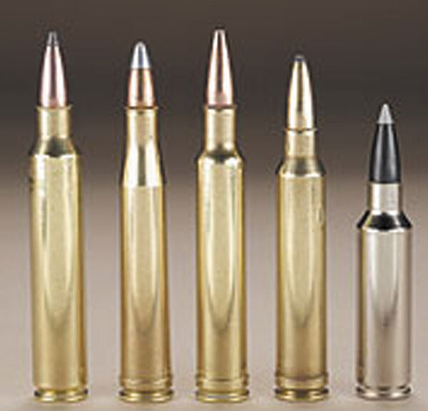 Слева направо: .300 Remington Ultra Magnum, .300 Holland & Holland, .300 Weatherby Magnum, .300 Winchester Magnum .300 Winchester Short Magnum.