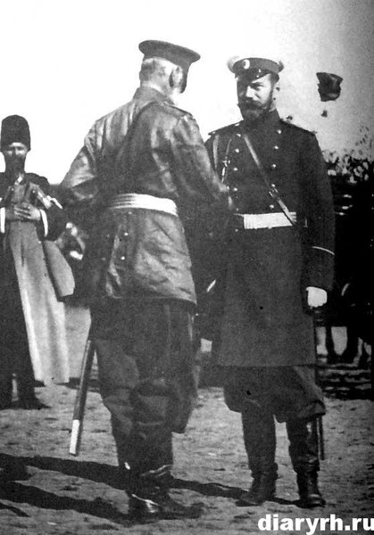 Emperor Nicholas II with Adjutant General Baron Theophilus Egorovich Meyendorf, Commander of the 1 Army Corps. Photo 1904 year, the time of the Russian-Japanese war (1904-1905's).