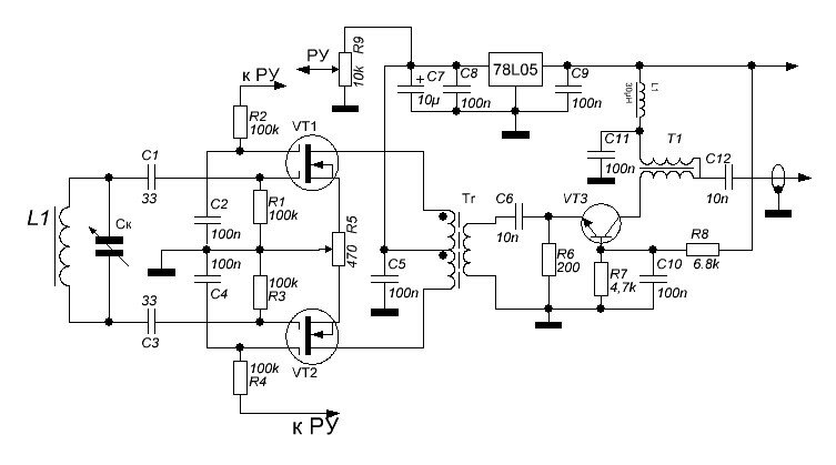 Рис. 3. Differential amplifier circuit on double gate field-effect transistors