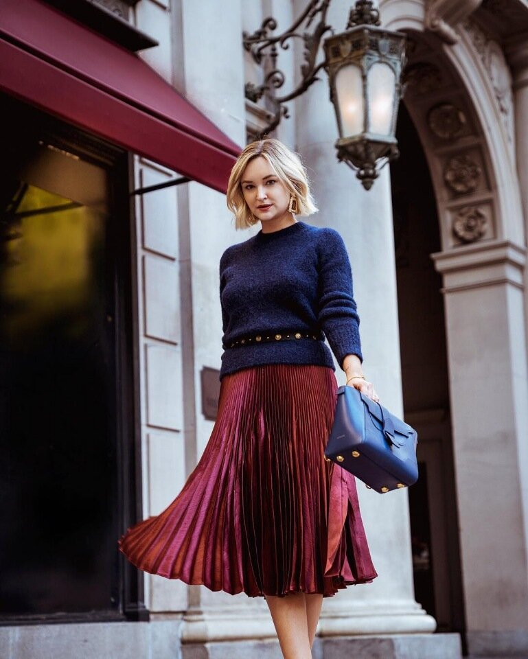 Fashionable autumn combination: warm sweater + air skirt. Rules of successful images