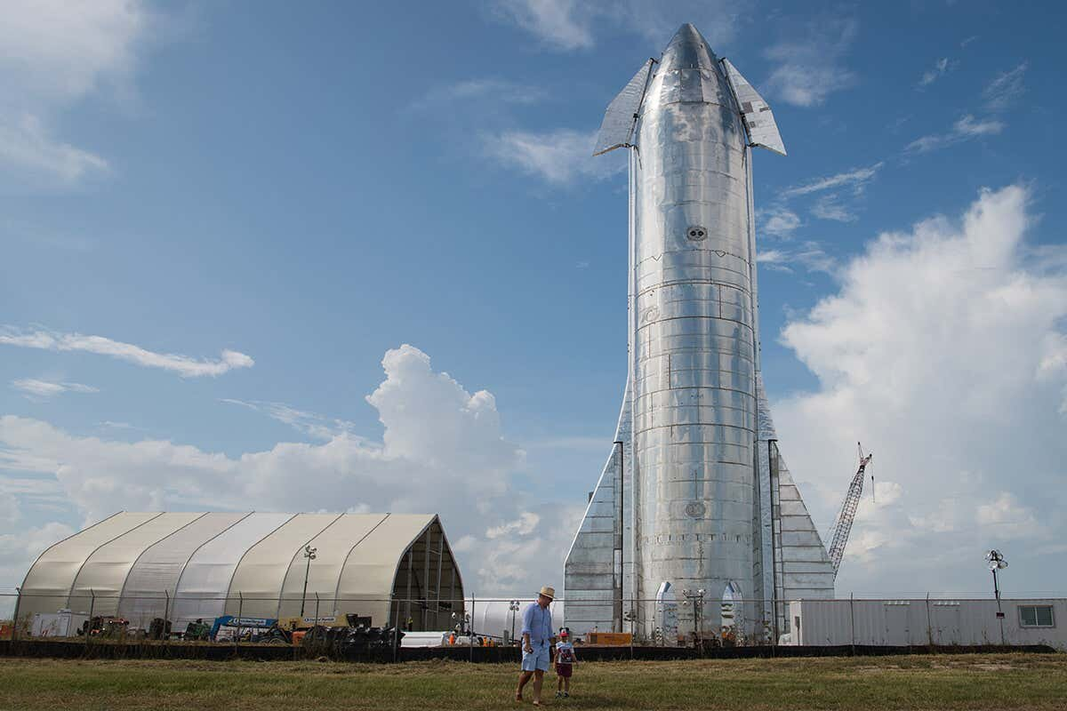 SpaceX's Starship spacecraft at the Boca Chica facility in Texas Loren Elliott/Getty