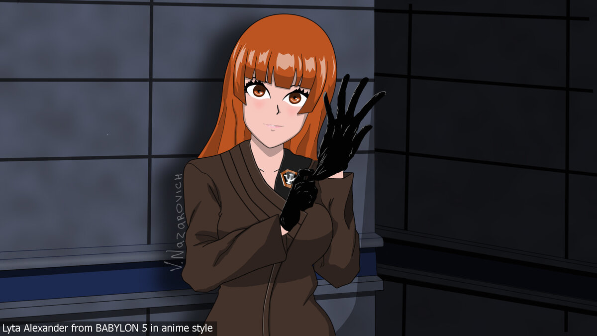 Лита Александер из Вавилон 5 в аниме стиле (Lyta Alexander from Babylon 5 in anime style)