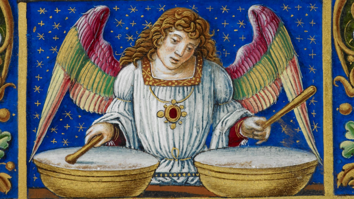 1. fol. 29v, фрагмент. Sforza Hours, Add MS 34294. British Library
