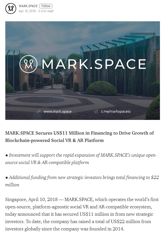 Источник: https://medium.com/@markspace/mark-space-secures-us-11-million-in-financing-to-drive-growth-of-blockchain-powered-social-vr-ar-cfd9130a5571