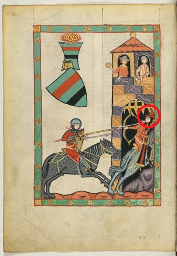 Немецкий рыцарь преследует монгольского лучника (начало XIV века, Codex Manesse).