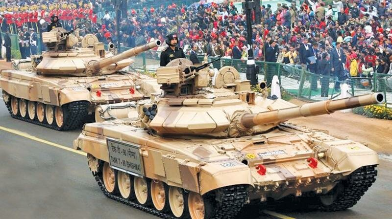 Indian army T-90s during Republic Day parade