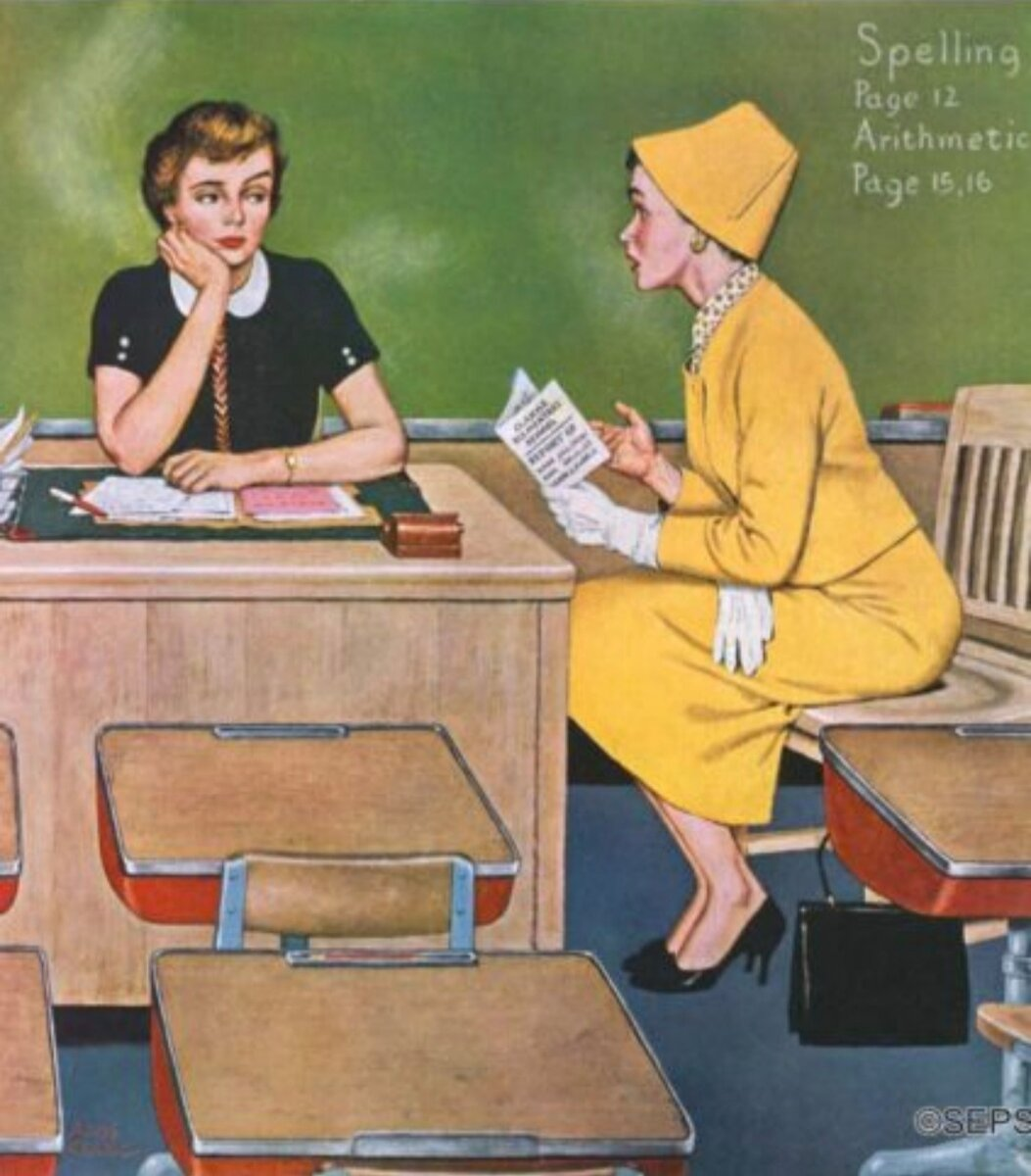 """""""Parent - Teacher Conference"""", December 12, 1959 by Amos Sewell,  фото из архива The Saturday Evening Post Amos Sewell Archives 
