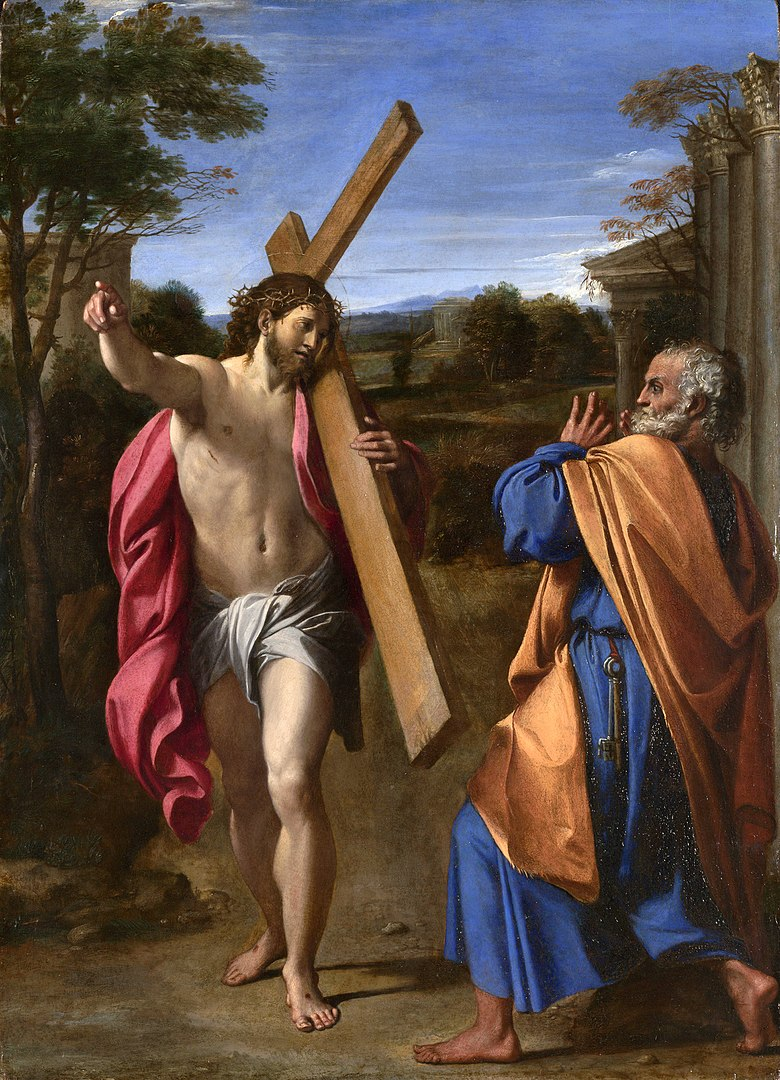 Автор: Аннибале Карраччи - http://www.nationalgallery.org.uk/paintings/annibale-carracci-christ-appearing-to-saint-peter-on-the-appian-way National Gallery, London, Общественное достояние, https://commons.wikimedia.org/w/index.php?curid=326162