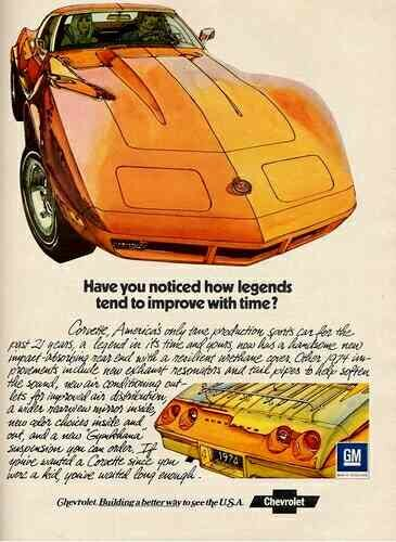 Original 1974 Chevy Corvette Advertisement. (Image courtesy of GM Media.)