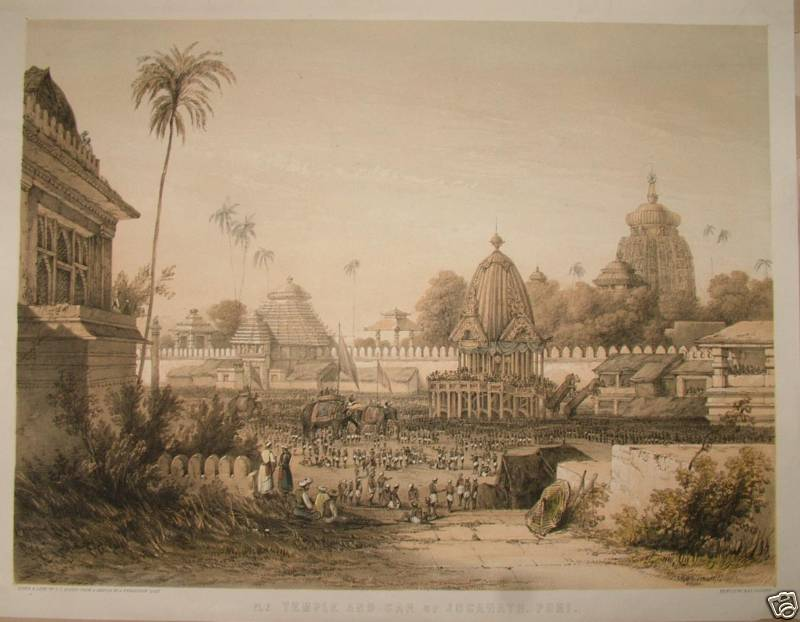"""""""Temple and Car of Juganath, Puri,"""" a lithograph by Fergusson and Dibdin, from 'Picturesque illustrations of ancient architecture of Hindostan', c.1850"""
