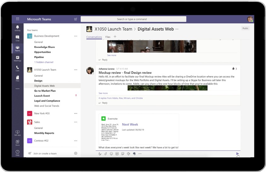 Продолжайте пользоваться знакомыми приложениями, например Evernote, прямо в Microsoft Teams