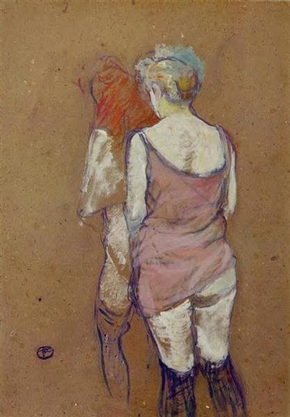 Two Half Naked Women Seen from Behind in the Rue des Moulins Brothel,  Henri de Toulouse-Lautrec ,1894