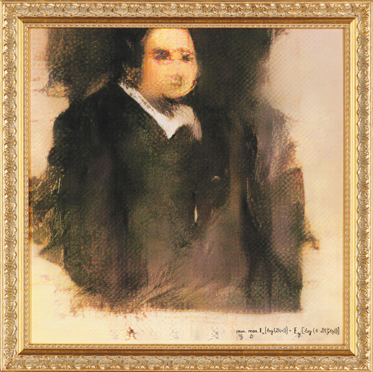Portrait  of Edmond Belamy, 2018, created by GAN (Generative Adversarial  Network), which will be offered at Christie's in October. Image ©  Obvious Размер картины составляет 70×70 см.