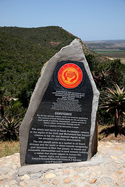 Saartjie Baartman's grave, on a hill overlooking Hankey in the Gamtoos River Valley, Eastern Cape, South Africa