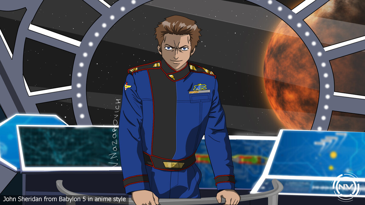 Джон Шеридан из Вавилон 5 в аниме стиле (John Sheridan from Babylon 5 in anime style)