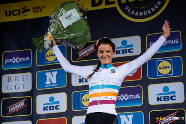 Lizzie Armitstead takes the lead in the UCI Women's WorldTour from her teammate, Chantal Blaak — Women's Ronde van Vlaanderen 2016. A 141km road race starting and finishing in Oudenaarde, Belgium on April 3rd 2016.
