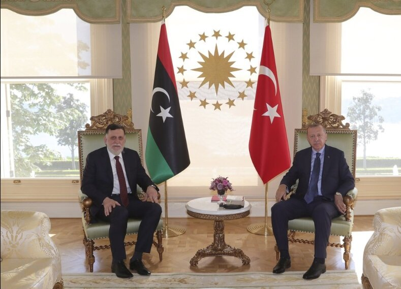 July  25, 2020 Turkey's President Recep Tayyip Erdogan, right, and Fayez  Sarraj, the head of Libya's internationally-recognized government, pose  for photographs prior to their talks in Istanbul.