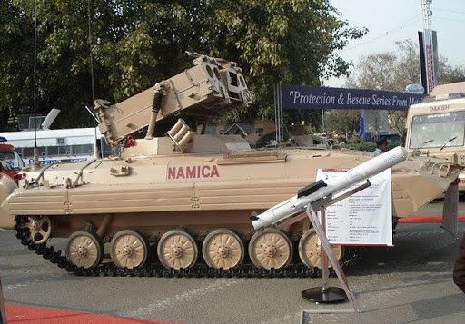 Nag missile and NAMICA combat vehicle. source: Ministry of Defense of India