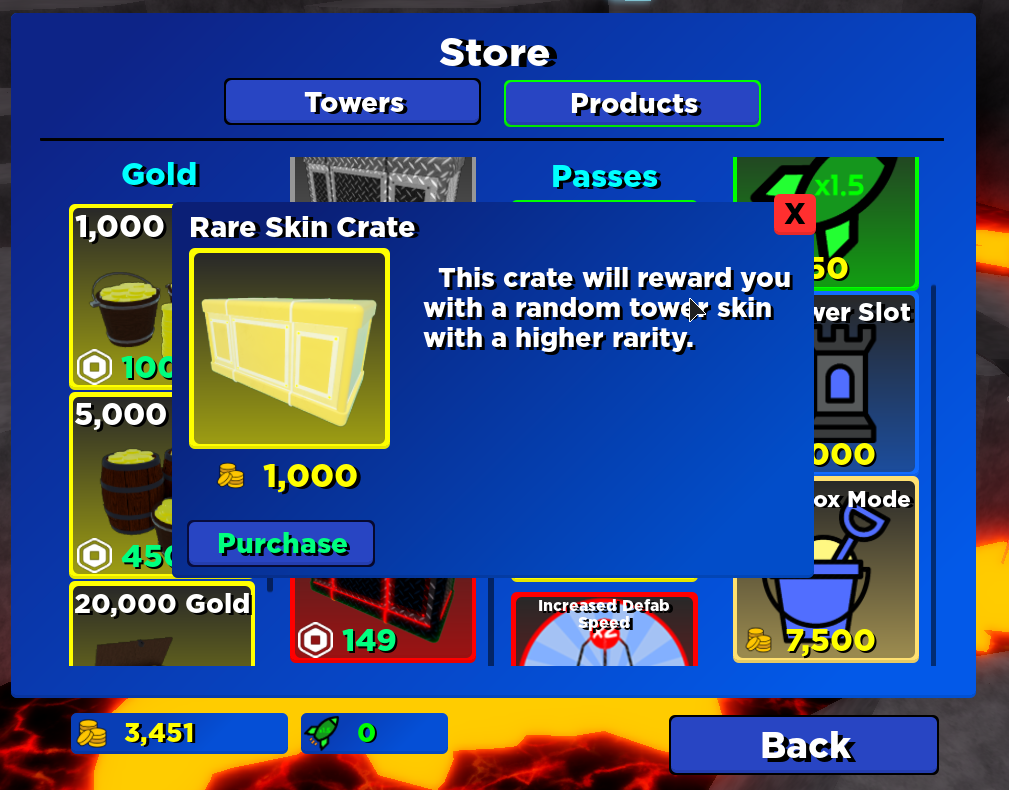 Screenshot of a case for 1,000 coins.
