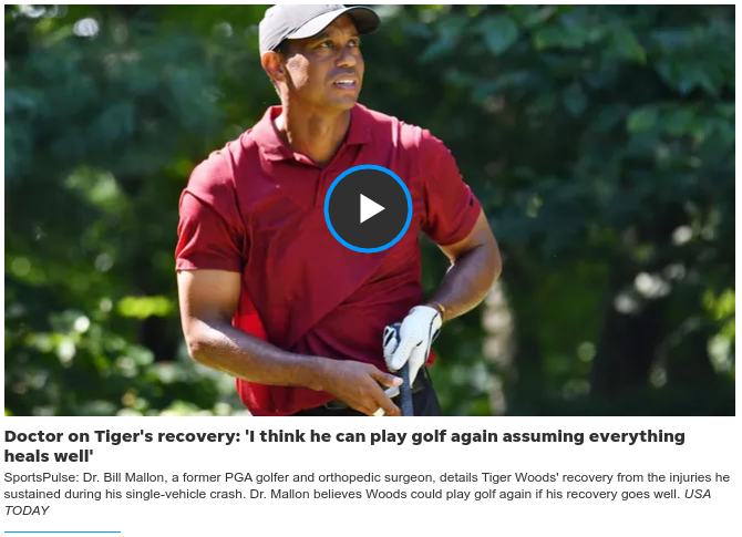 Фото из видеозаставки сюжета, опубликованного на USA Today, https://www.usatoday.com/story/sports/golf/2021/04/07/tiger-woods-update-crash-82-mph-unclear-consious/7120758002/