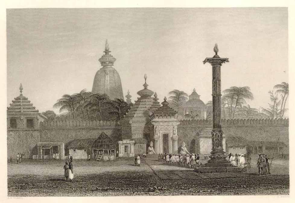 """""""Temple of Juggernaut,"""" a steel engraving by Vickers and Barber, 1844"""