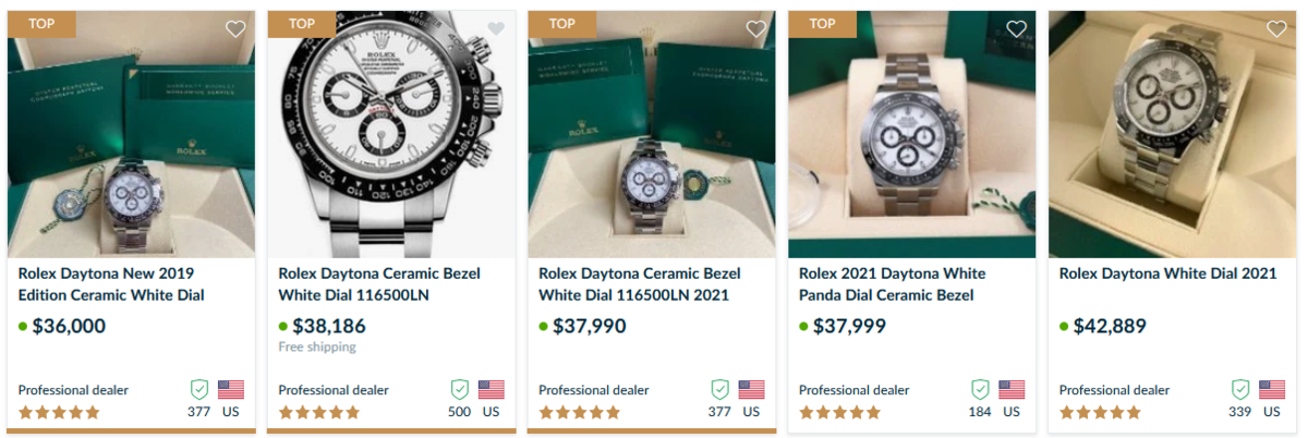 Price example for Daytona 116500LN with white dial