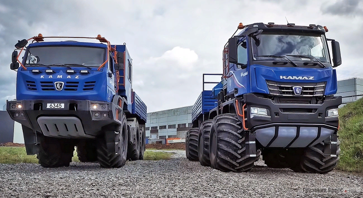 KamAZ 6345 (Left) and KamAZ 6455 (right, the same new Arctic) Photo taken from the site gruzovikpress.ru