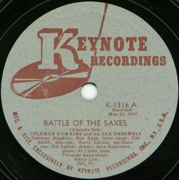 Coleman Hawkins – Battle Of The Saxes / Three Little Words (Keynote, 1944)