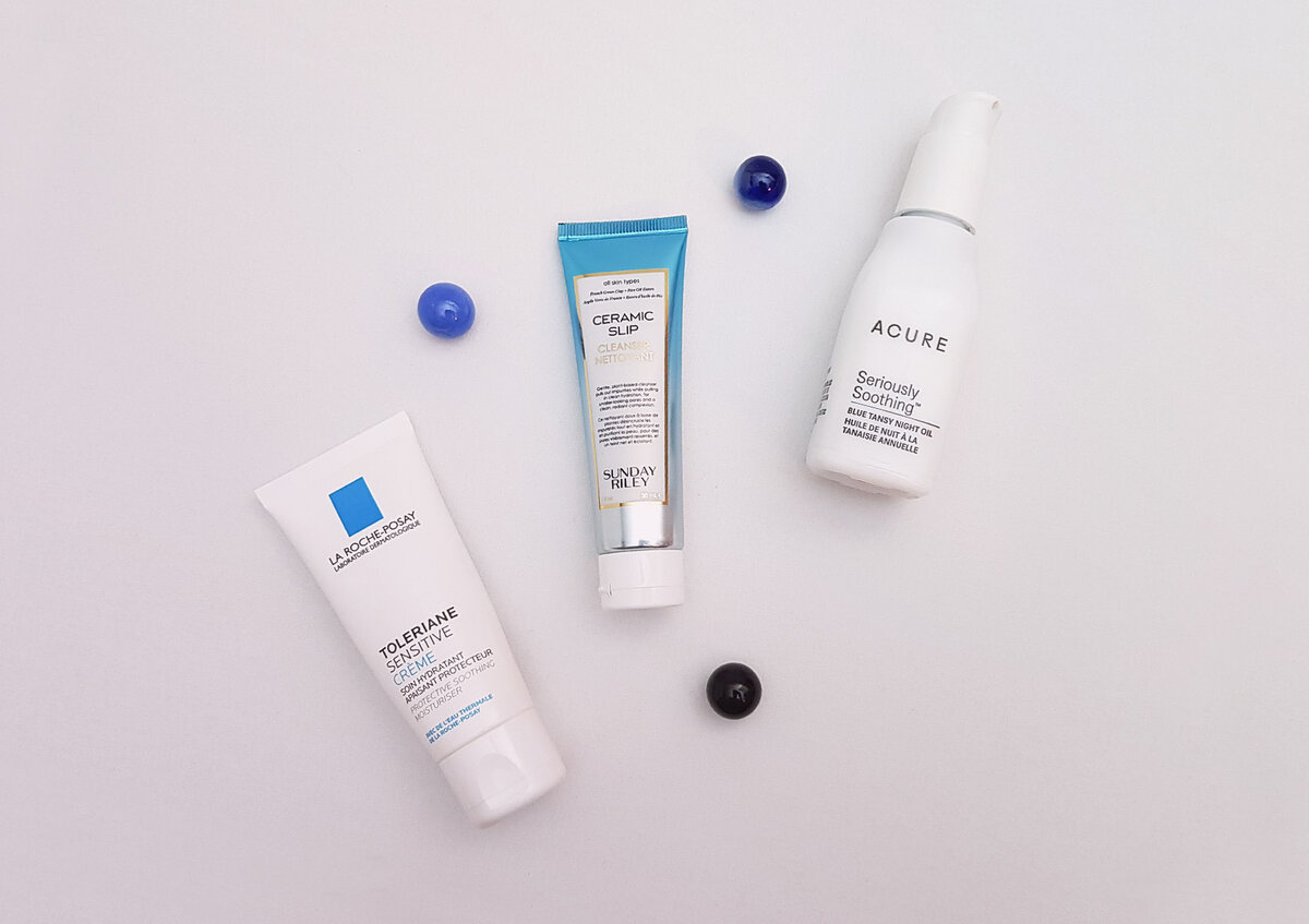 La Roche-Posay Toleriane Sensitive Creme, Sunday Riley Ceramic Slip Cleanser, Acure Seriously soothing Blue Tansy Night Oil