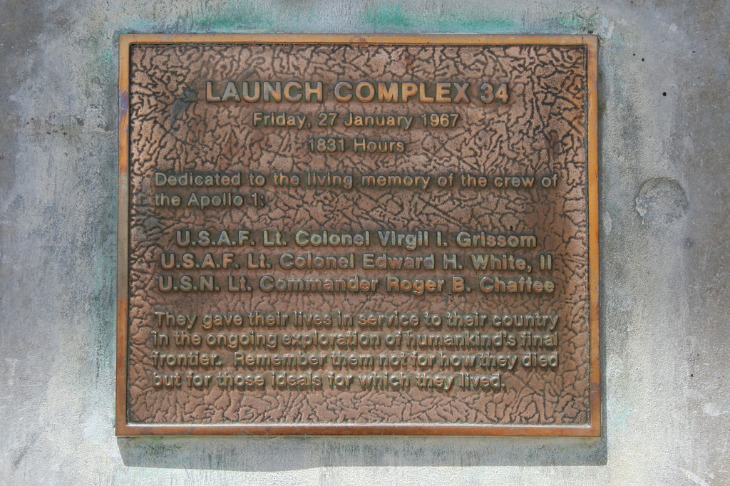 Plaque on Launch Complex 34 at the Cape Canaveral Air Force Station, Florida